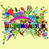 幼儿园线艺术设计传染媒介例证 库存图片