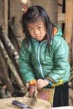 幼儿在Sapa村庄在使用切开一把大的刀子的北越木头 图库摄影