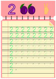 幼儿学会写数字,孩子的家庭作业 免版税库存图片