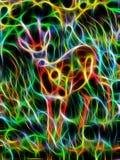 幼小鹿绘画在狂放的风景的与高草 分数维作用 免版税库存照片