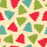 幼稚与圣诞树的圣诞节无缝的样式 库存例证