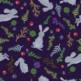 幼稚兔子和花 在动画片样式的逗人喜爱的无缝的样式 能为墙纸,积土,网页使用 免版税库存照片