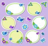 幼稚春天剪贴薄标签,与花的框架 免版税图库摄影