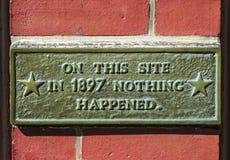 幽默历史站点标志 库存图片