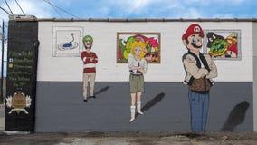 幽默墙壁艺术壁画在深Ellum,达拉斯,得克萨斯 免版税库存图片