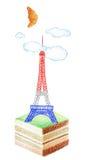 幽默法国人蛋糕 免版税库存图片