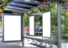 广告公共汽车站 免版税图库摄影