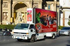 广告卡车在拉斯维加斯, NV 库存图片
