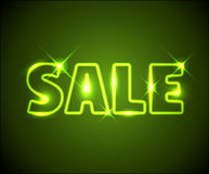 广告大绿色霓虹销售额发光 库存例证