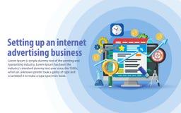 广告安装和逻辑分析方法在互联网上的 目标观众通过广告,烙记和数字式媒介marke 库存照片