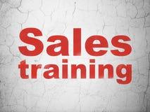 广告概念:在墙壁背景的销售培训 皇族释放例证