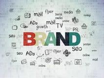 广告概念:在数字资料纸背景的品牌 库存例证