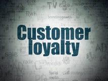 广告概念:在数字资料纸背景的顾客忠诚 库存图片