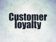 广告概念:在数字资料纸背景的顾客忠诚 库存例证