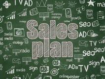 广告概念:在校务委员会背景的销售计划 库存图片