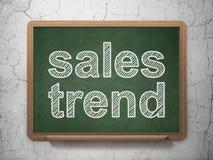 广告概念:在黑板背景的销售趋向 免版税库存图片