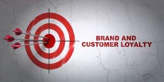 广告概念:目标和品牌和顾客忠诚在墙壁背景 库存例证