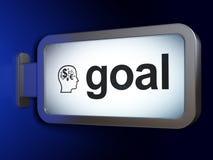 广告概念:目标和头有财务标志的在广告牌背景 免版税库存照片