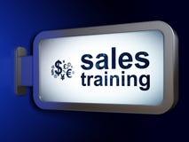广告概念:销售培训和财务标志在广告牌背景 库存图片