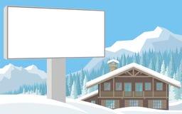 广告牌和瑞士山中的牧人小屋 向量例证