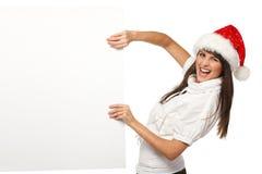广告牌圣诞节女孩拉 免版税库存照片