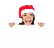 广告牌圣诞节妇女 免版税库存照片