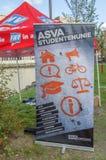 广告牌在UVA学生抗议的ASVA大学生联盟反对在教育的裁减 所有在荷兰相似的抗议Wil附近 免版税库存图片