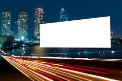 广告牌夜或户外广告 库存照片