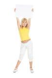 广告牌白肤金发的逗人喜爱的女孩暂&# 免版税库存图片