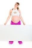 广告牌空白藏品怀孕的微笑的妇女 库存照片