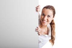 广告牌藏品妇女 免版税图库摄影