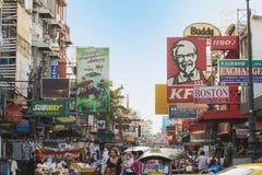 广告牌Khao圣路在曼谷,泰国 库存图片