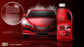 广告的优质洗车产品packadge嘲笑 瓶洗车肥皂 3d传染媒介现实车模板 免版税图库摄影