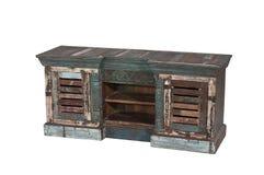 广告的被隔绝的古色古香的木家具 免版税库存照片