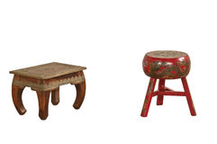 广告的被隔绝的古色古香的木家具 免版税库存图片