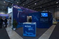 广告航空和空间沙龙MAKS 2017年在莫斯科(俄罗斯) 库存照片