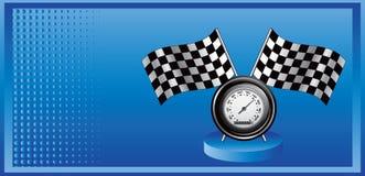 广告蓝旗信号半音赛跑的车速表 皇族释放例证