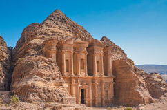 广告Deir & x28; Monastery& x29; Petra,约旦 库存照片
