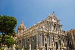 广场中央寺院正方形,圣诞老人阿佳莎,卡塔尼亚,西西里岛大教堂, 库存照片