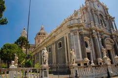 广场中央寺院正方形,圣诞老人阿佳莎,卡塔尼亚,西西里岛大教堂, 免版税图库摄影