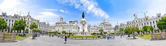 广场圣马丁省-利马的全景在秘鲁 免版税库存照片