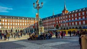 广场少校在马德里,西班牙 免版税库存照片