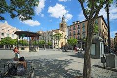 广场市长在塞戈维亚 塞戈维亚,一个城市在卡斯蒂利亚y利昂的自治区 库存图片