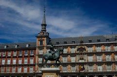 广场市长在马德里西班牙。 免版税库存图片