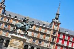 广场市长在马德里,西班牙 免版税库存照片