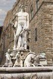 广场德拉Signoria,佛罗伦萨,意大利,海王星喷泉  免版税库存图片