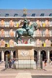 广场正方形市长,一个历史的在马德里 免版税库存图片