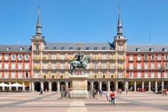 广场正方形市长,一个历史的在马德里 库存照片
