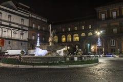 广场的里雅斯特e trento, teatro圣克罗那不勒斯 免版税库存照片