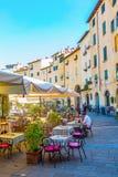 广场的del Anfiteatro餐馆在卢卡,意大利 库存照片
